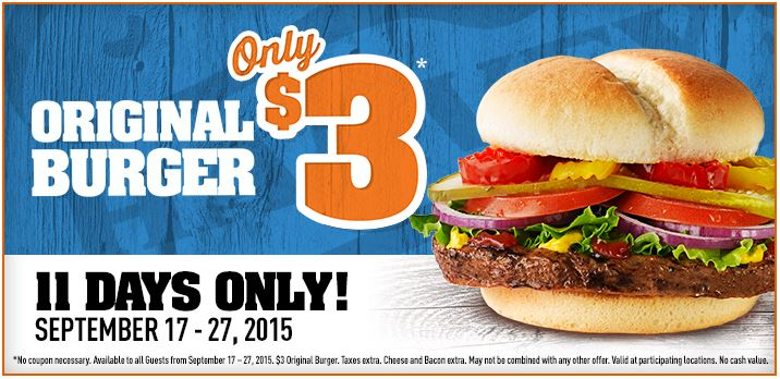 News: $3 Original Burgers at Harvey's