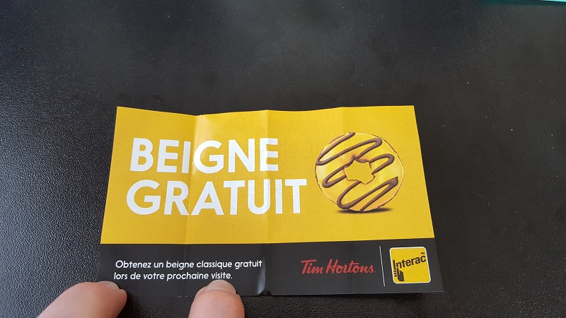 Deal:  Use Interac Flash at Tim Hortons get a Free Donut