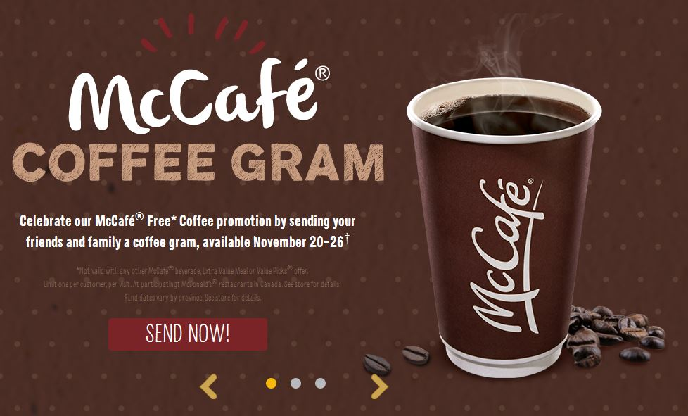 Deal:  McDonald's Free Small Coffee November 20 – 26
