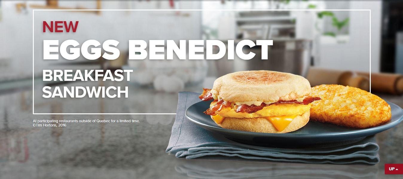 News: Tim Horton's new Eggs Benedict Breakfast Sandwich